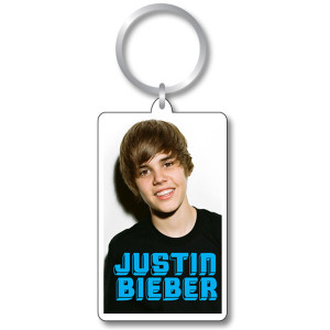 Justin Bieber Logo Photo Keychain