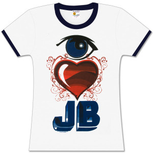 Justin Bieber Eye Heart JB Girls Fitted Ringer T-Shirt