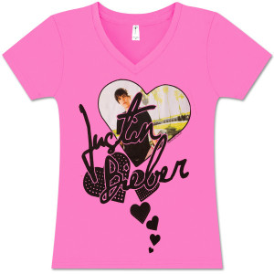 Justin Bieber Hearts Girls V-Neck Fuchsia Tee
