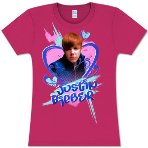 Justin Bieber Fuschia Photo Heart Babydoll