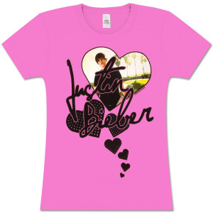 Justin Bieber Heart Crew Neck Girlie T-Shirt