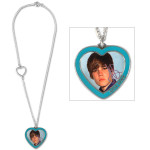 Justin Bieber Photo Heart Charm Necklace