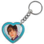 Justin Bieber Photo Heart Charm Keychain