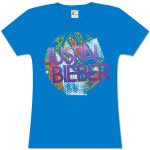 Justin Bieber Pattern JB Girls Fitted Turquoise Tee